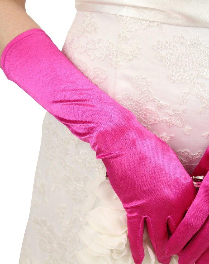 Pink Satin Gloves - Below Elbow Length