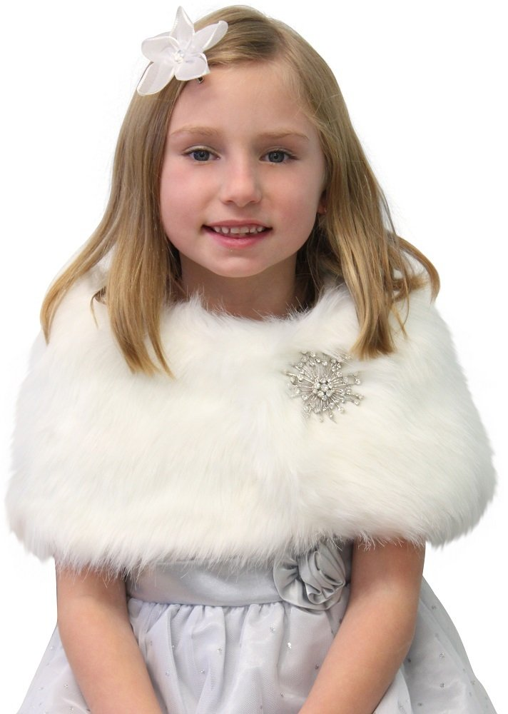 Tion Bridal Faux Fur Wrap Fox for FLOWER GIRLS Ivory