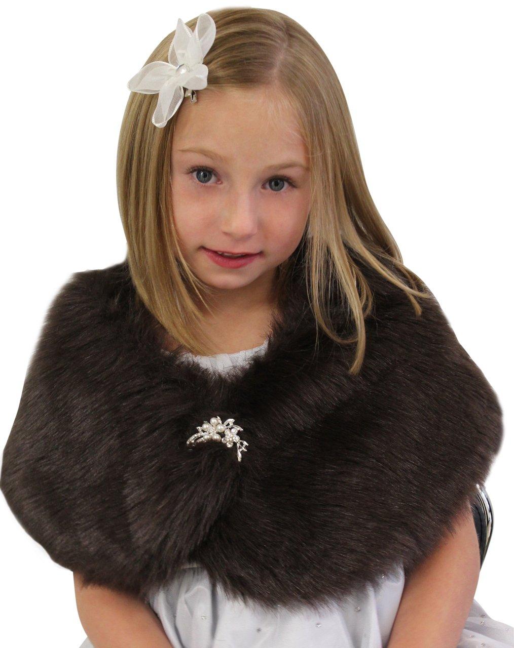 Tion Bridal Faux Fur Wrap Fox for FLOWER GIRLS Sable