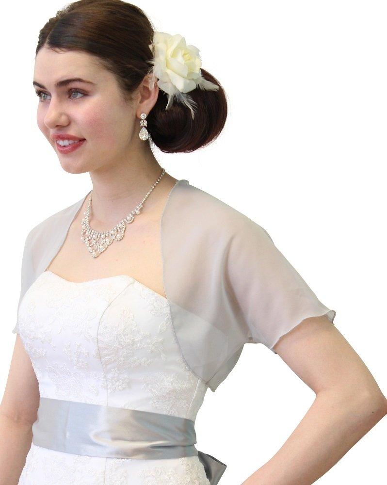 Tion Bridal Gray Chiffon Bolero With Short Sleeve 810CH-GRAY