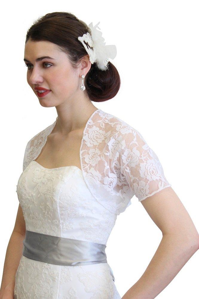 White Lace Bolero With Short Sleeve 720ROS-WHI