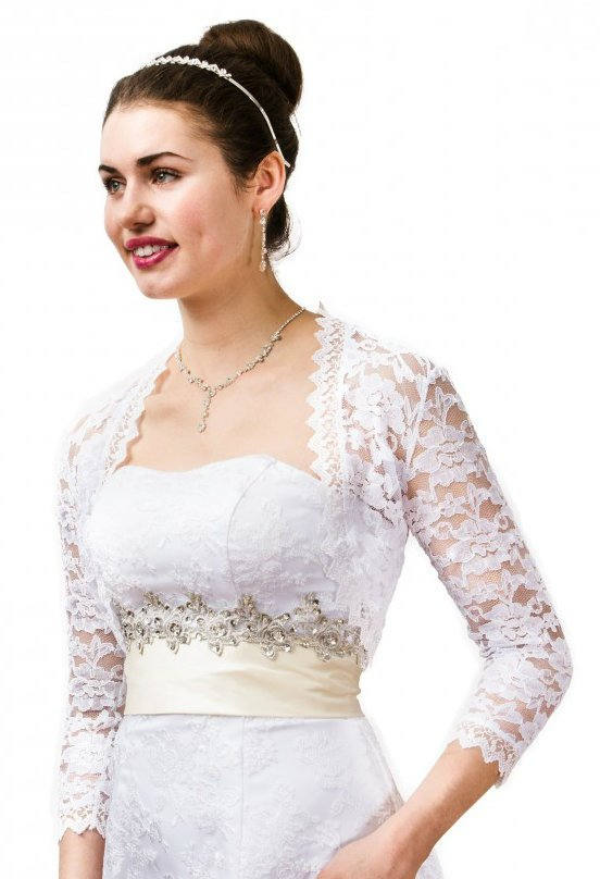 White Lace Jacket with Medium Sleeve N360MLJ-WHI