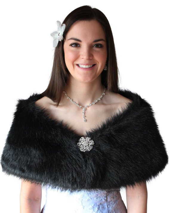 Black Faux Fur Wrap for Bridesmaid with Free Brooch
