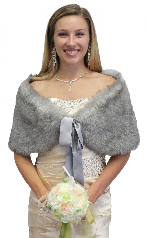 Grey Chinchilla faux fox shawl, faux fur stole, faux fur shrug size XS - L