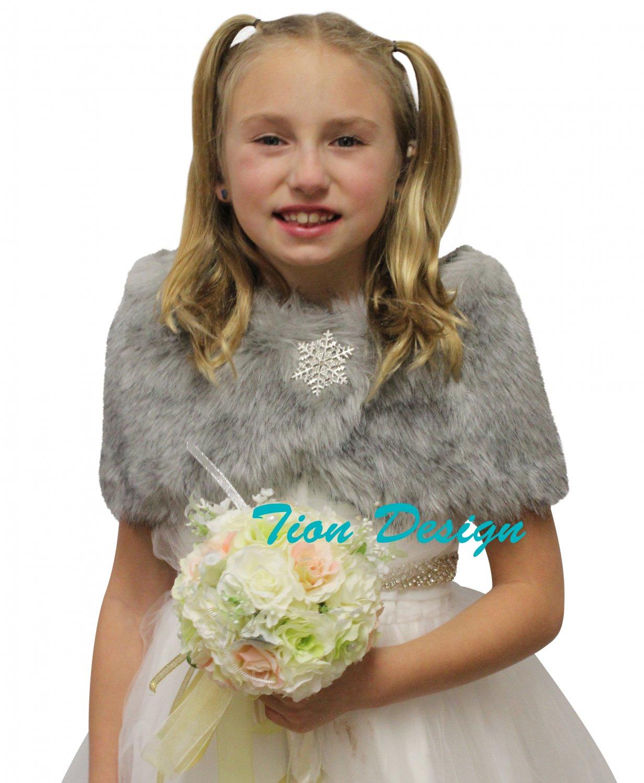 Tion Bridal Faux Fur Wrap Fox for FLOWER GIRLS Grey Chinchilla