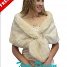 Bridal fur stole champagne, Free SNOW FLAKE BROOCH PIN on SALE