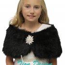 Tion Bridal Faux Fur Wrap Fox for FLOWER GIRLS Black