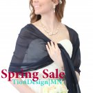 Navy Blue Chiffon shawl, Prom evening shawl Spring Sale