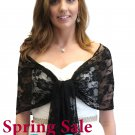 Tion Bridal Black Lace Bridal Shawl Wedding Wrap Prom Scarf