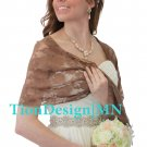 TIon Bridal Brown Lace Bridal Shawl Wedding Wrap Prom Scarf
