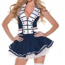 Blue Navy Sailor Uniform Pin Up Pirate Fancy Dress Costume Buttons