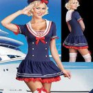 Blue Navy Sailor Uniform Pin Up Pirate Fancy Dress Costume Buttons Red Tie
