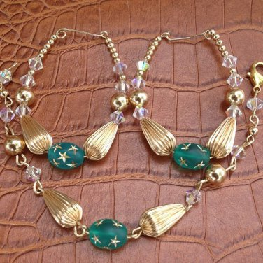 Blue Zircone Earring And Bracelet Set