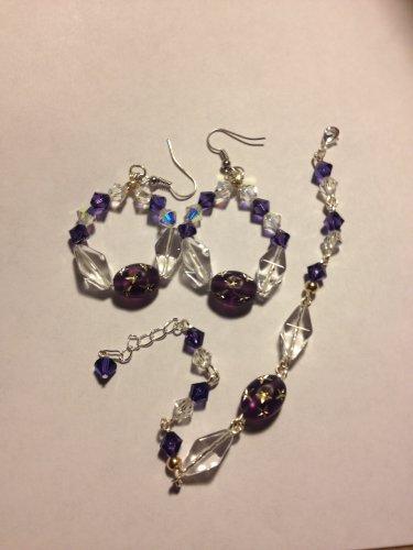 Purple and Clear Swarvoski Crystals