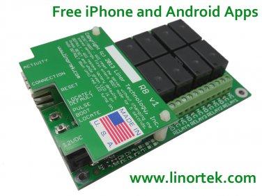 Linortek Fargo R8 Smartphone & Web Remote Relay Control Board with Built In Web Server