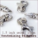 5 SILVER EXTRA LARGE LOBSTER SWIVEL CLASPS - 1.5 INCH