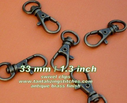 40 Antique brass 1.3 INCH EXTRA LARGE Lobster Clasps