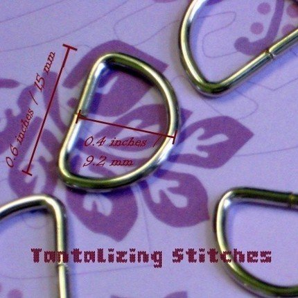 100 Unwelded D rings - 15 mm for bags and other sewing