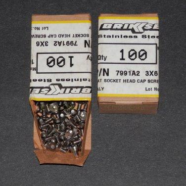 M3 6mm Stainless Steel Flat Head Socket Cap Screw 200 pieces