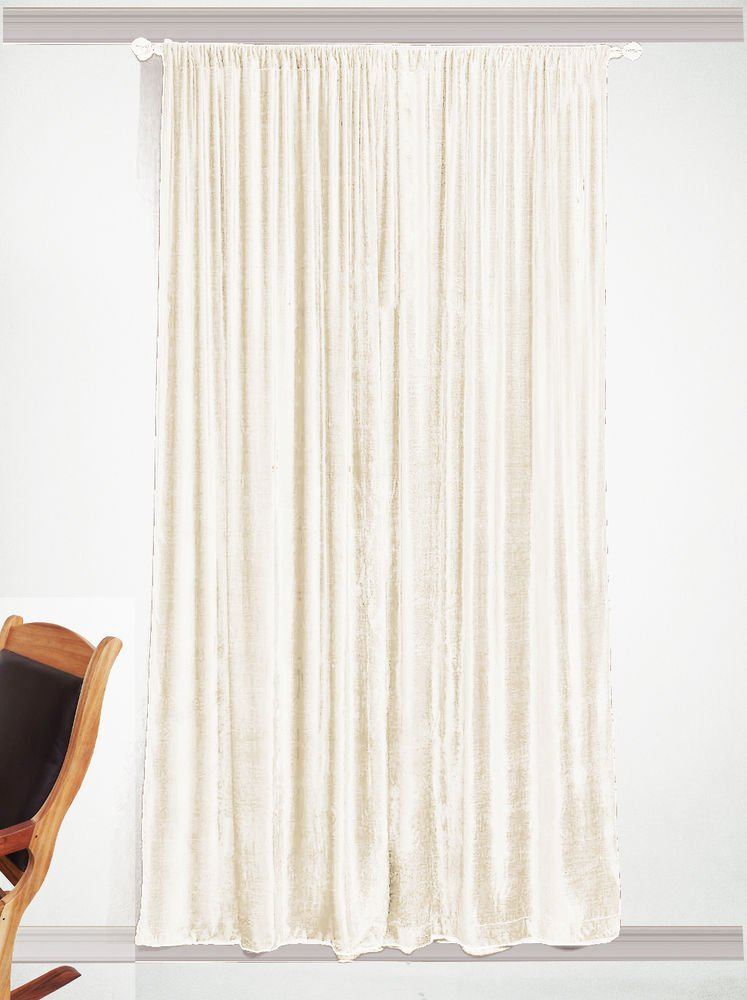 "Blackout Long Door Eyelet Curtain Drapes, Thick IVORY, 100% Cotton Velvet - 50""W by 120""L"