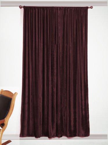 "Blackout Long Door Eyelet Curtain Drapes, Thick Plum, 100% Cotton Velvet - 50""W by 144""L"