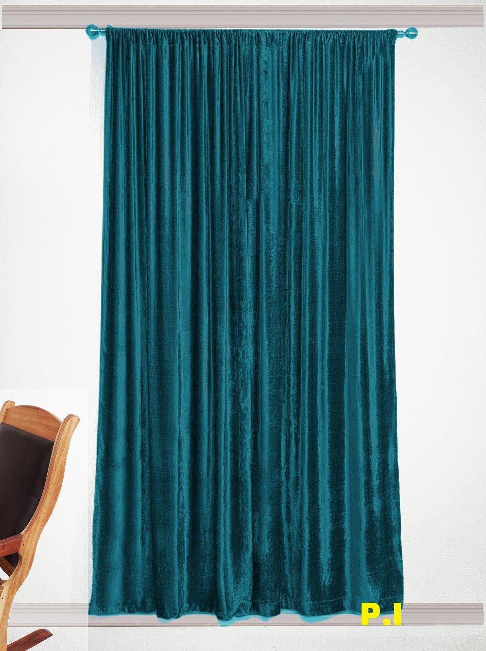 """TEAL - Vintage Blackout 100% Cotton Velvet Lined Curtain Home Theatre Panel-50""""W X 63""""L"""