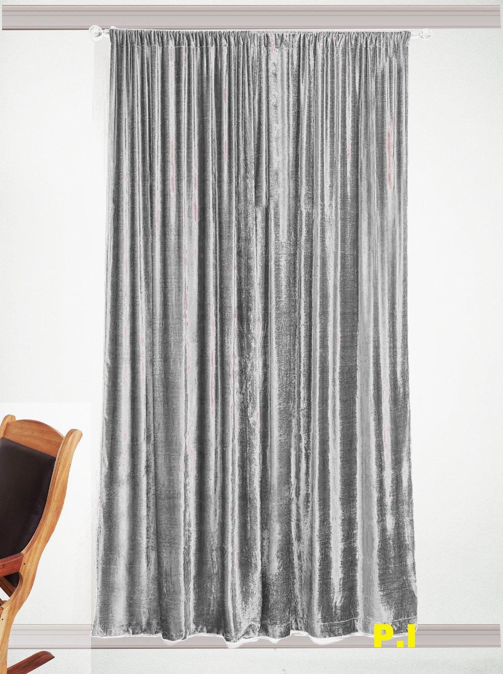 """SILVER - Vintage Blackout 100% Cotton Velvet Lined Curtain Home Theatre Panel-50""""W X 72""""L"""
