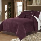 Full/Queen 100% Velvet-Egytian Cotton Reversible  PLUM  Duvet Quilt Cover Set 3pc