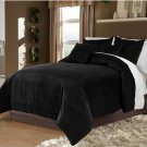 Full/Queen 100% Velvet-Egytian Cotton Reversible  BLACK  Duvet Quilt Cover Set 3pc