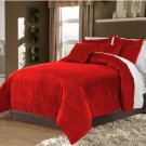 Full/Queen 100% Velvet-Egytian Cotton Reversible RUBY RED  Duvet Quilt Cover Set 3pc