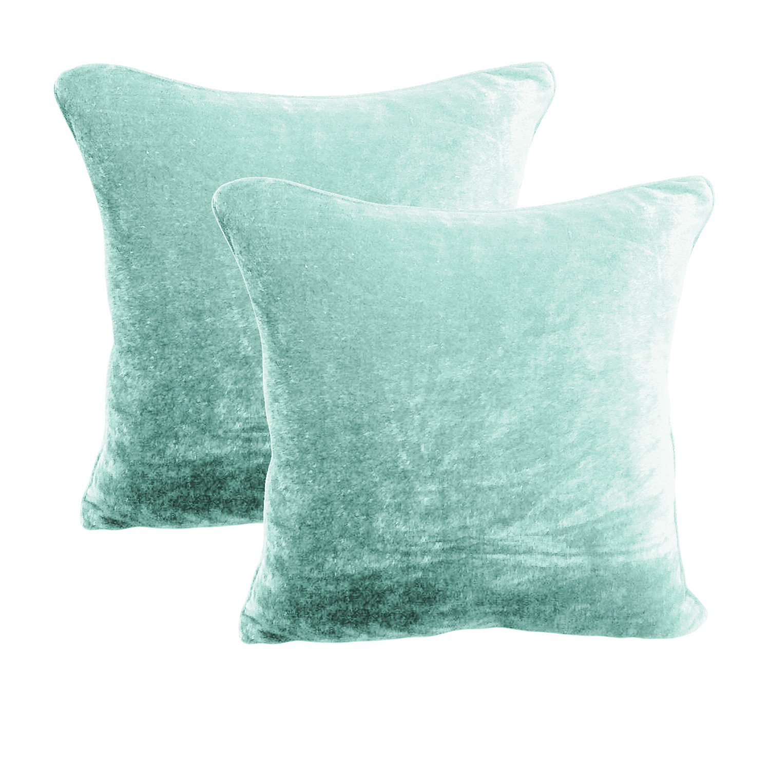 26 by 26 INCHES - 100% COTTON VELVET 6PC ZIPPER PILLOW COVER SHAMS EURO AQUA