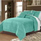 Aqua King/Cal King 100% Velvet & Cotton Reversible Duvet Quilt Cover Set 3pcs