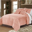 Carnation King/Cal King 100% Velvet & Cotton Reversible Duvet Quilt Cover Set 3pcs