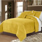 Gold King/Cal King 100% Velvet & Cotton Reversible Duvet Quilt Cover Set 3pcs