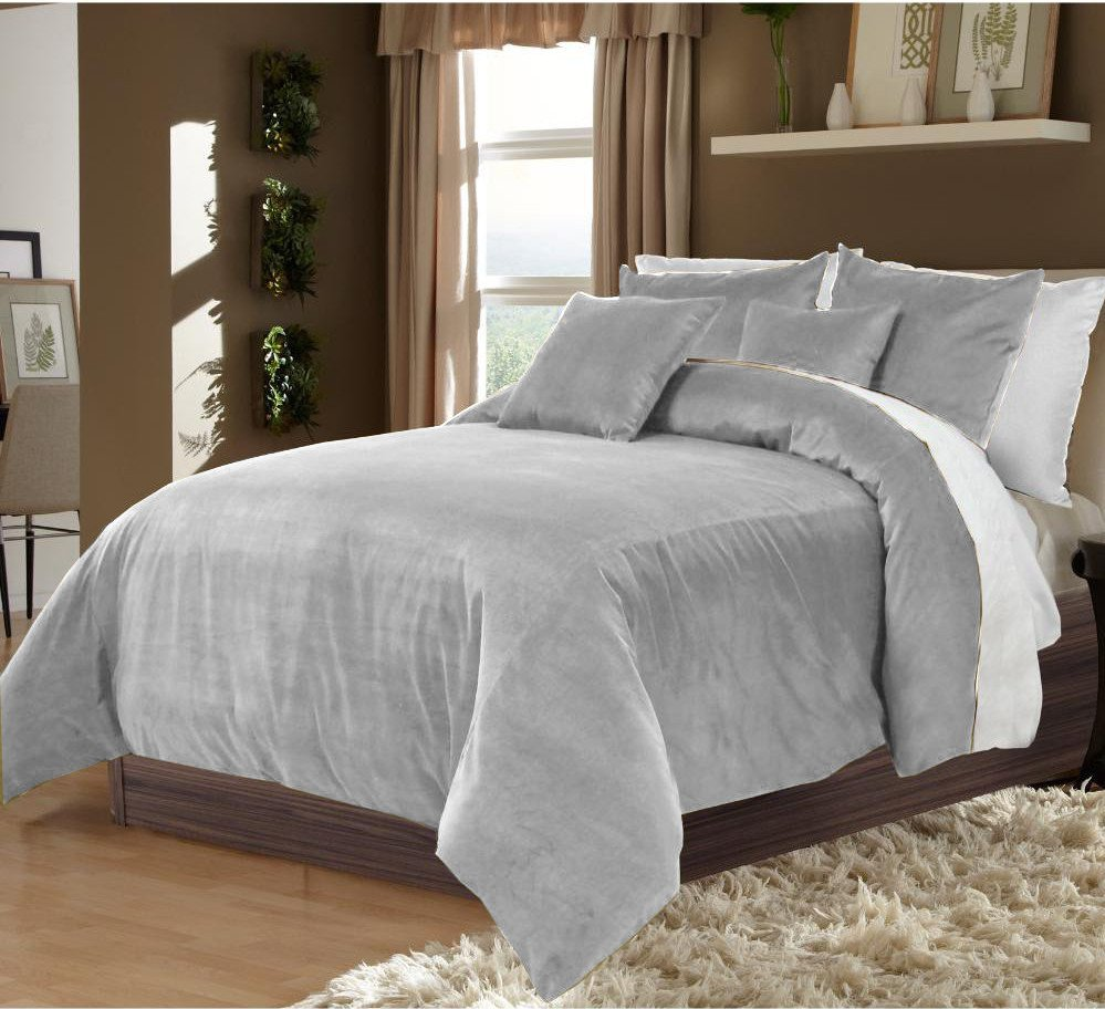 Silver King/Cal King 100% Velvet & Cotton Reversible Duvet Quilt Cover Set 3pcs