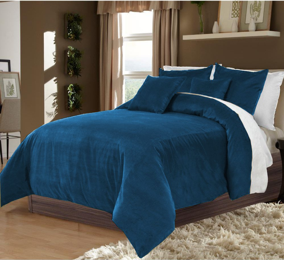 teal king cal king 100 velvet cotton reversible duvet quilt cover set 3pcs. Black Bedroom Furniture Sets. Home Design Ideas