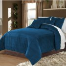 Teal King/Cal King 100% Velvet & Cotton Reversible Duvet Quilt Cover Set 3pcs