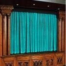 Vintage Style Pole Pocket Aqua 100% cotton Velvet curtain Theater/Stage Panel - 12Wx9H FT