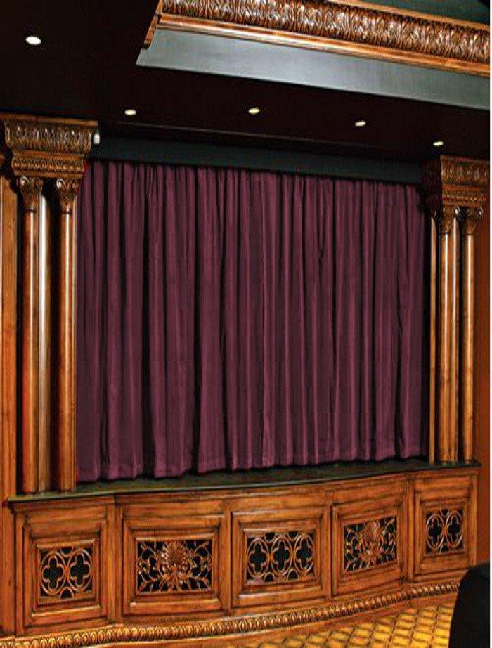 Vintage Style Pole Pocket Plum 100% cotton Velvet curtain Theater/Stage Panel - 12Wx9H FT