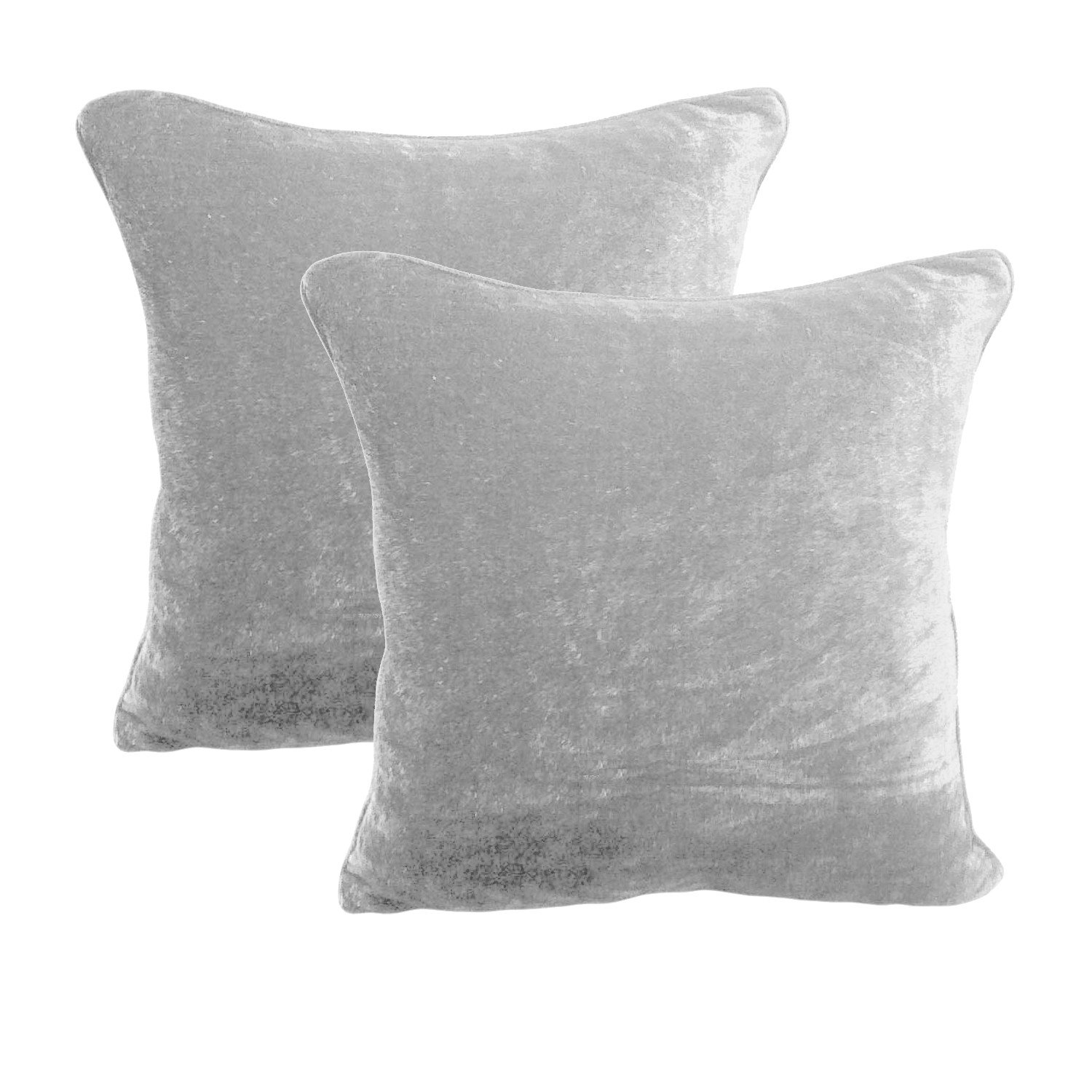 18 by 18 INCHES - 100% COTTON VELVET 6PC ZIPPER PILLOW COVER SHAMS EURO SILVER