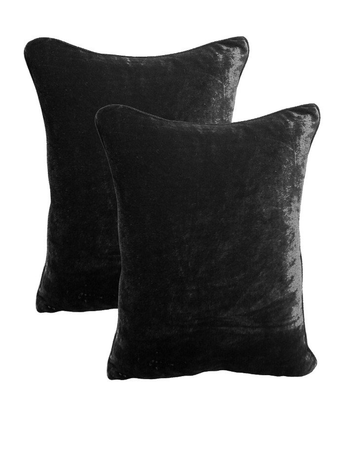 20 by 30 INCHES - 100% COTTON VELVET PILLOW COVERS FOR BEDROOM BLACK