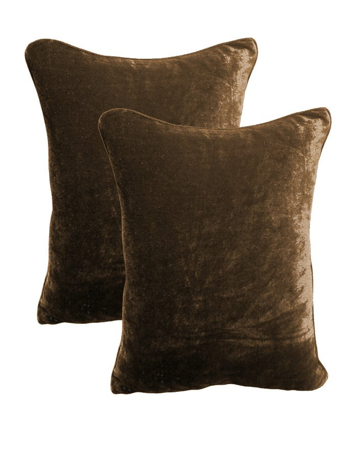 20 by 30 INCHES - 100% COTTON VELVET PILLOW COVERS FOR BEDROOM CHOCO