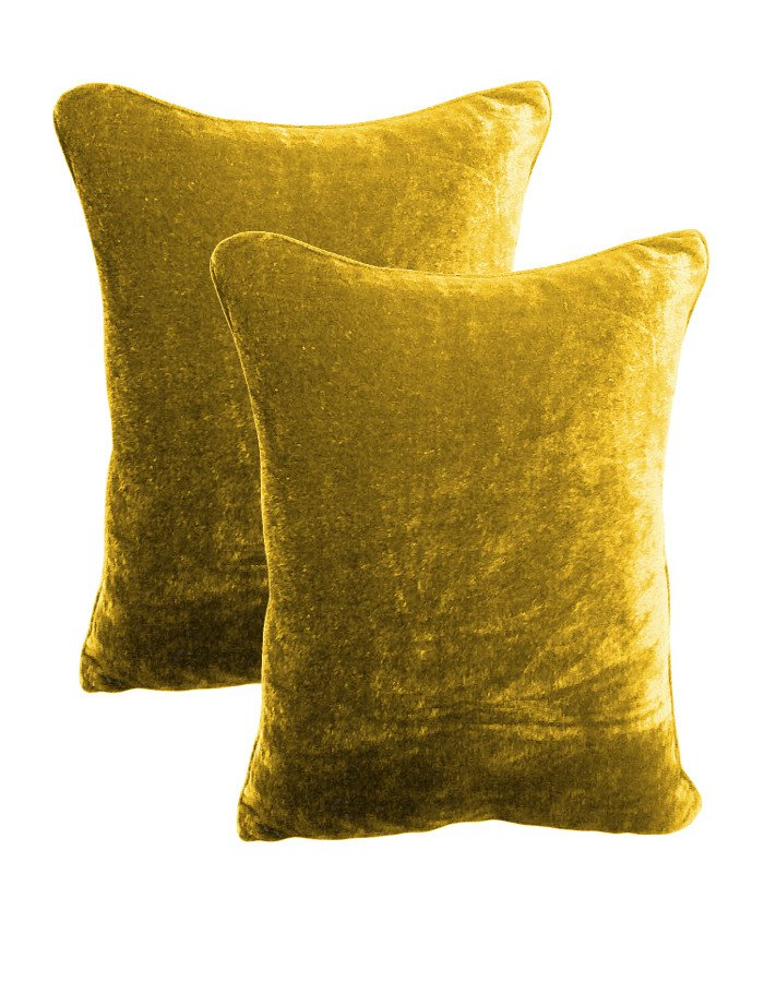 20 by 30 INCHES - 100% COTTON VELVET PILLOW COVERS FOR BEDROOM GOLD