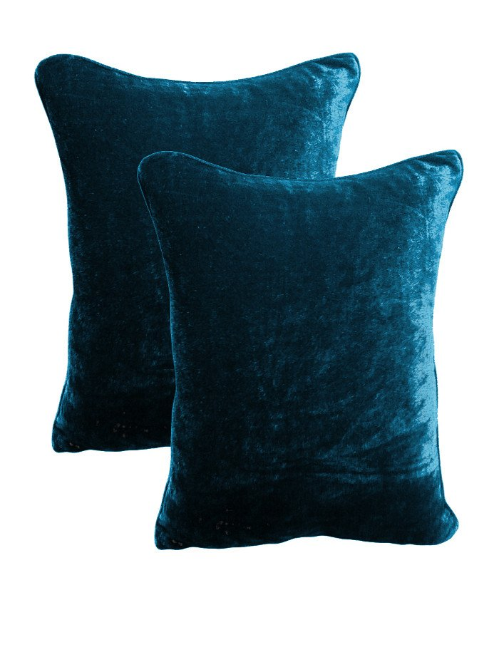 20 by 30 INCHES - 100% COTTON VELVET PILLOW COVERS FOR BEDROOM TEAL
