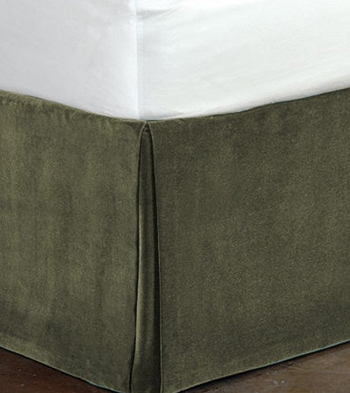 """New Queen Size 15""""Drop 100% Cotton Velvet Bedskirt/Valance Box Pleated - Stone"""