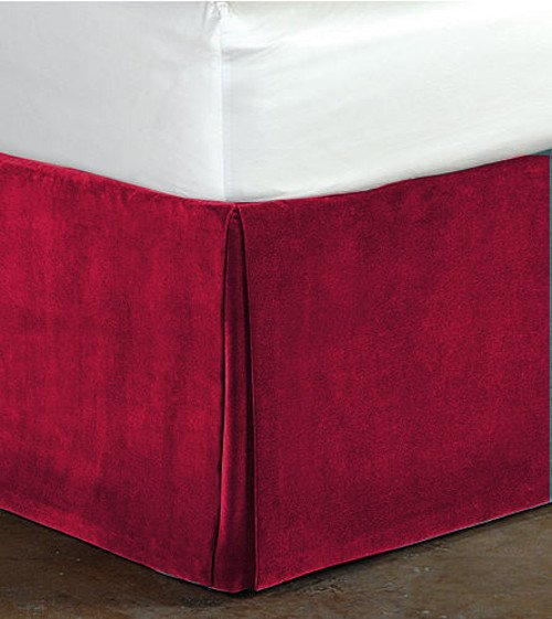 """New Twin Size 15""""Drop 100% Cotton Velvet Bedskirt/Valance Box Pleated - Grapes"""