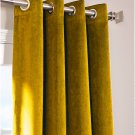 "GOLD - Vintage Blackout 100% Cotton Velvet Lined Curtain Long Door Panel-50""W X 120""L"