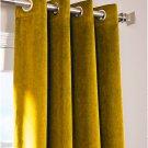 """GOLD - Vintage Blackout 100% Cotton Velvet Lined Curtain Long Door Panel-50""""W X 132""""L"""