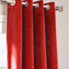 "RUBY RED - Vintage Blackout 100% Cotton Velvet Lined Curtain Long Door Panel-50""W X 132""L"