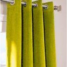 """LEMON GRASS - Vintage Blackout 100% Cotton Velvet Lined Curtain Long Door Panel-50""""W X 144""""L"""